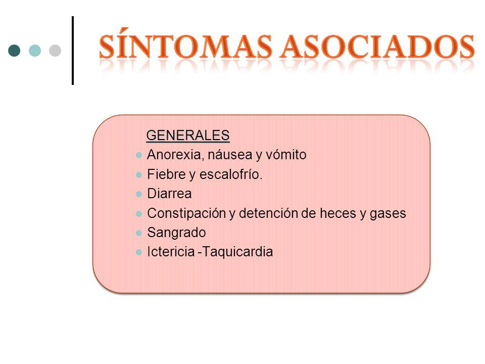 GENERALES Anorexia, náusea y vómito. Fiebre y escalofrío. Diarrea. Constipación y detención de heces y gases.