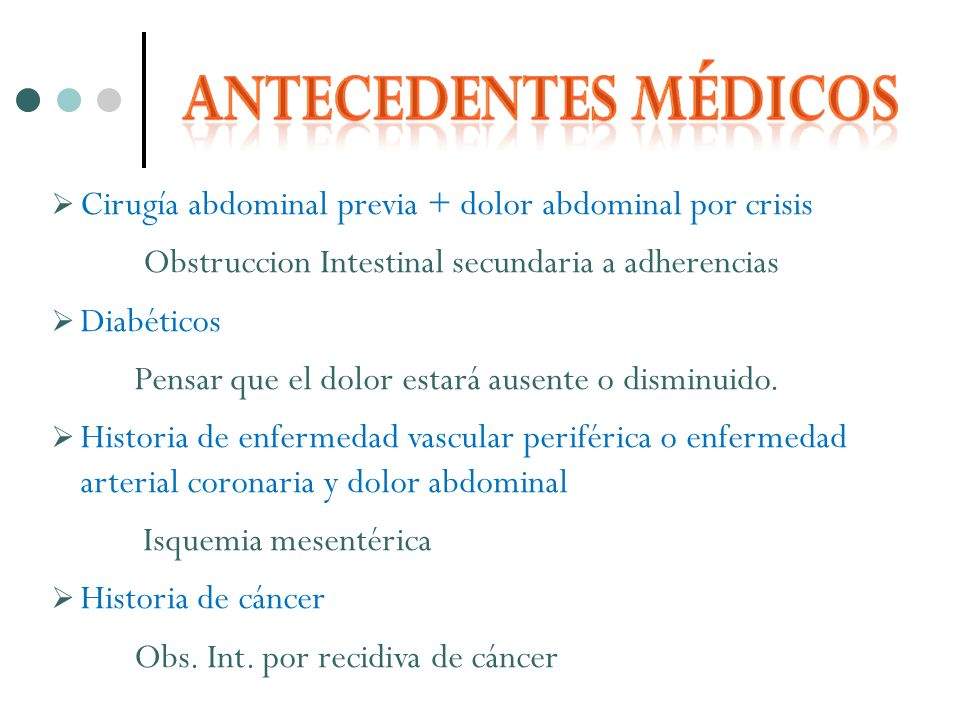 Cirugía abdominal previa + dolor abdominal por crisis