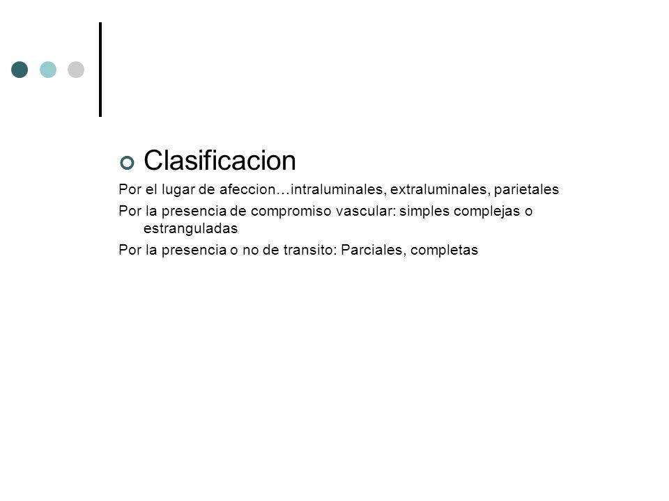 Clasificacion Por el lugar de afeccion…intraluminales, extraluminales, parietales.