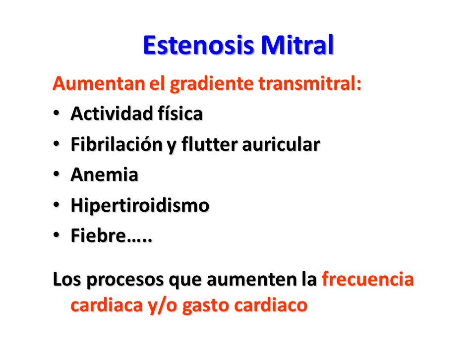 Estenosis Mitral Aumentan el gradiente transmitral: Actividad física