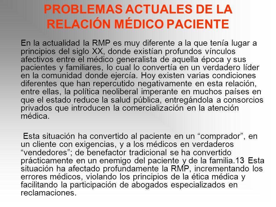 PROBLEMAS ACTUALES DE LA RELACIÓN MÉDICO PACIENTE