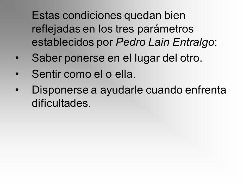 Estas condiciones quedan bien reflejadas en los tres parámetros establecidos por Pedro Lain Entralgo: