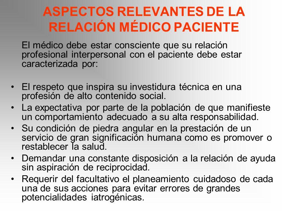 ASPECTOS RELEVANTES DE LA RELACIÓN MÉDICO PACIENTE