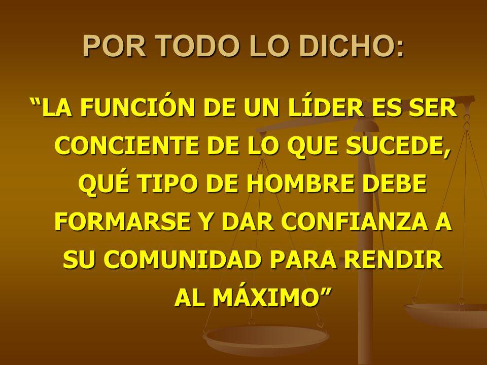 POR TODO LO DICHO: