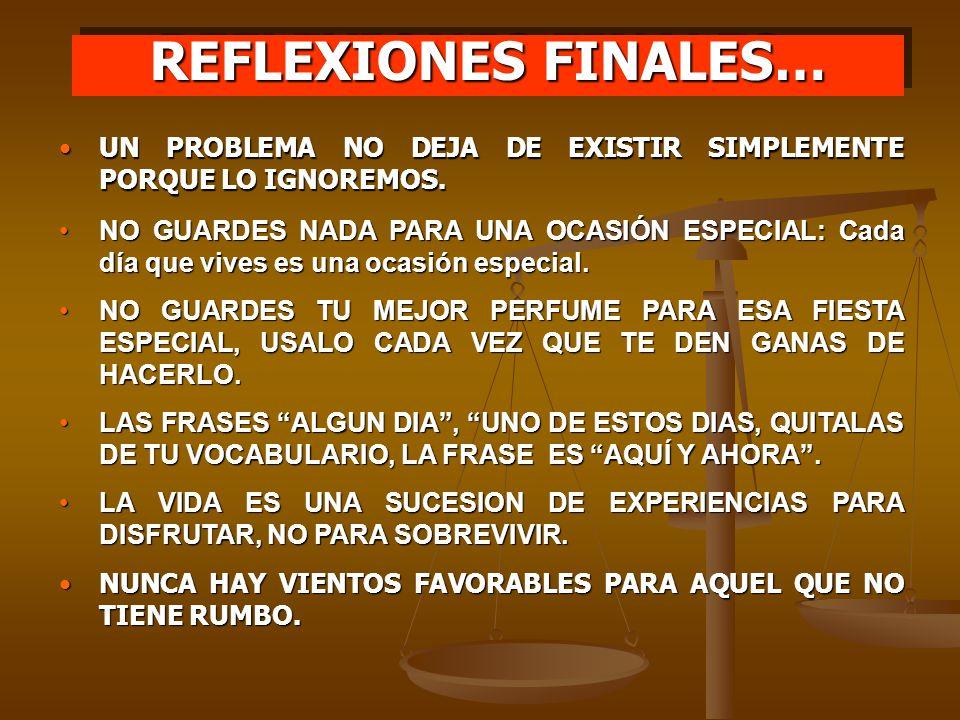 REFLEXIONES FINALES… UN PROBLEMA NO DEJA DE EXISTIR SIMPLEMENTE PORQUE LO IGNOREMOS.