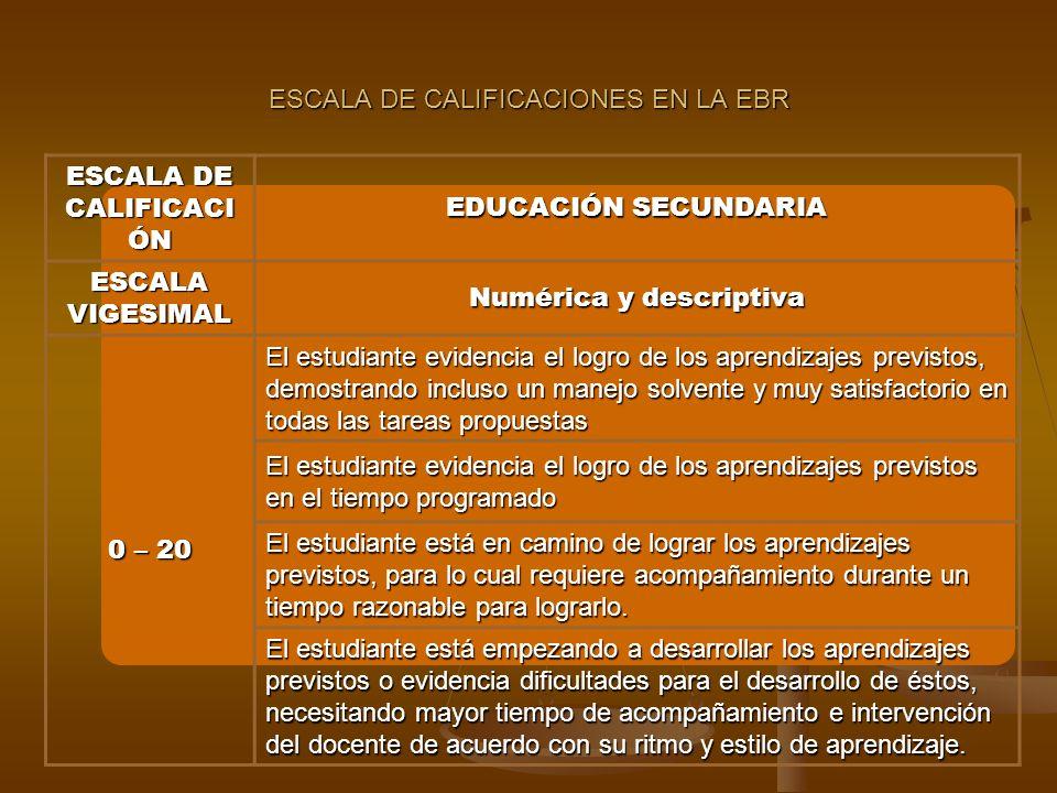ESCALA DE CALIFICACIONES EN LA EBR