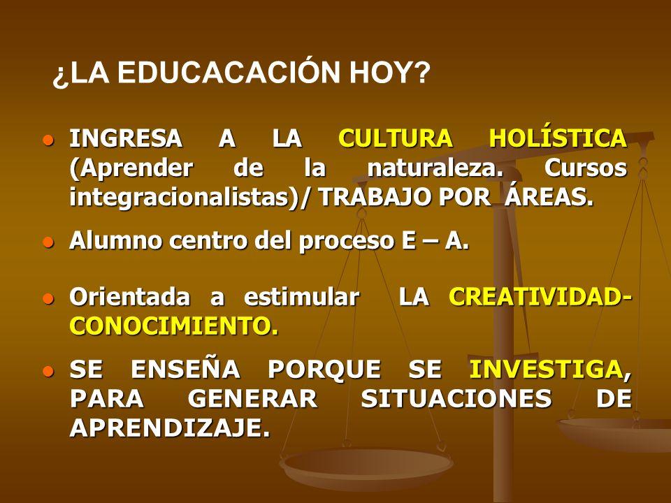 ¿LA EDUCACACIÓN HOY INGRESA A LA CULTURA HOLÍSTICA (Aprender de la naturaleza. Cursos integracionalistas)/ TRABAJO POR ÁREAS.