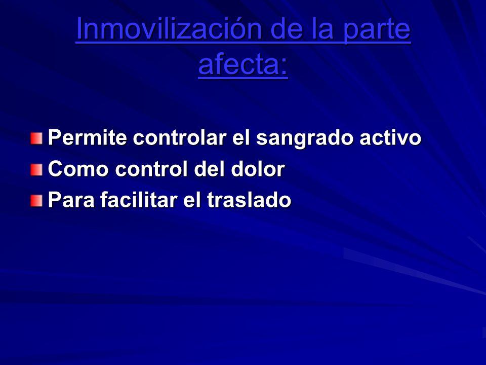 Inmovilización de la parte afecta: