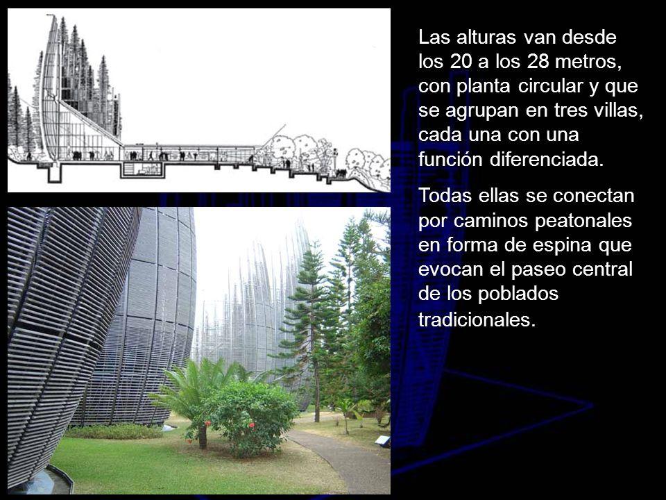 Las alturas van desde los 20 a los 28 metros, con planta circular y que se agrupan en tres villas, cada una con una función diferenciada.