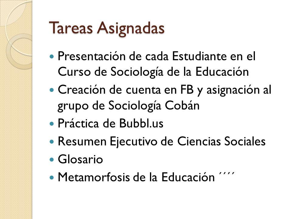 Tareas AsignadasPresentación de cada Estudiante en el Curso de Sociología de la Educación.