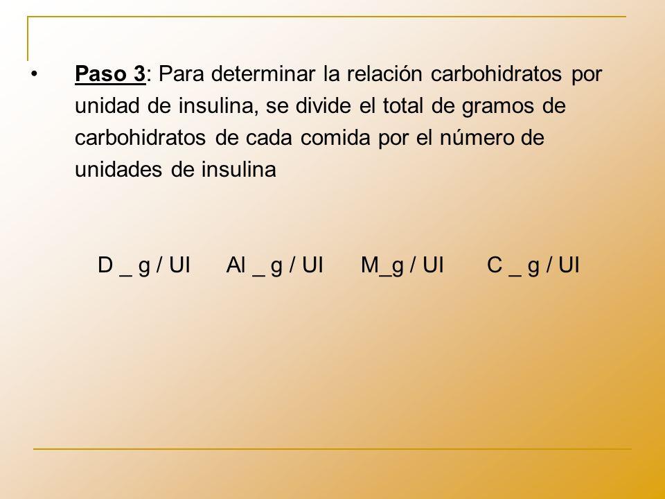 Paso 3: Para determinar la relación carbohidratos por unidad de insulina, se divide el total de gramos de carbohidratos de cada comida por el número de unidades de insulina