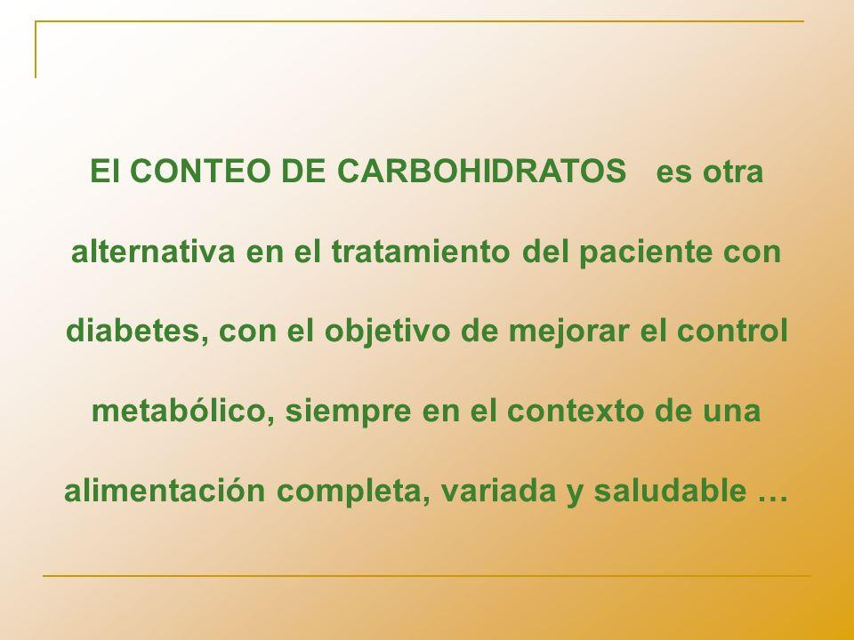 El CONTEO DE CARBOHIDRATOS es otra alternativa en el tratamiento del paciente con diabetes, con el objetivo de mejorar el control metabólico, siempre en el contexto de una alimentación completa, variada y saludable …