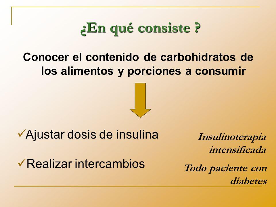 ¿En qué consiste Ajustar dosis de insulina Realizar intercambios