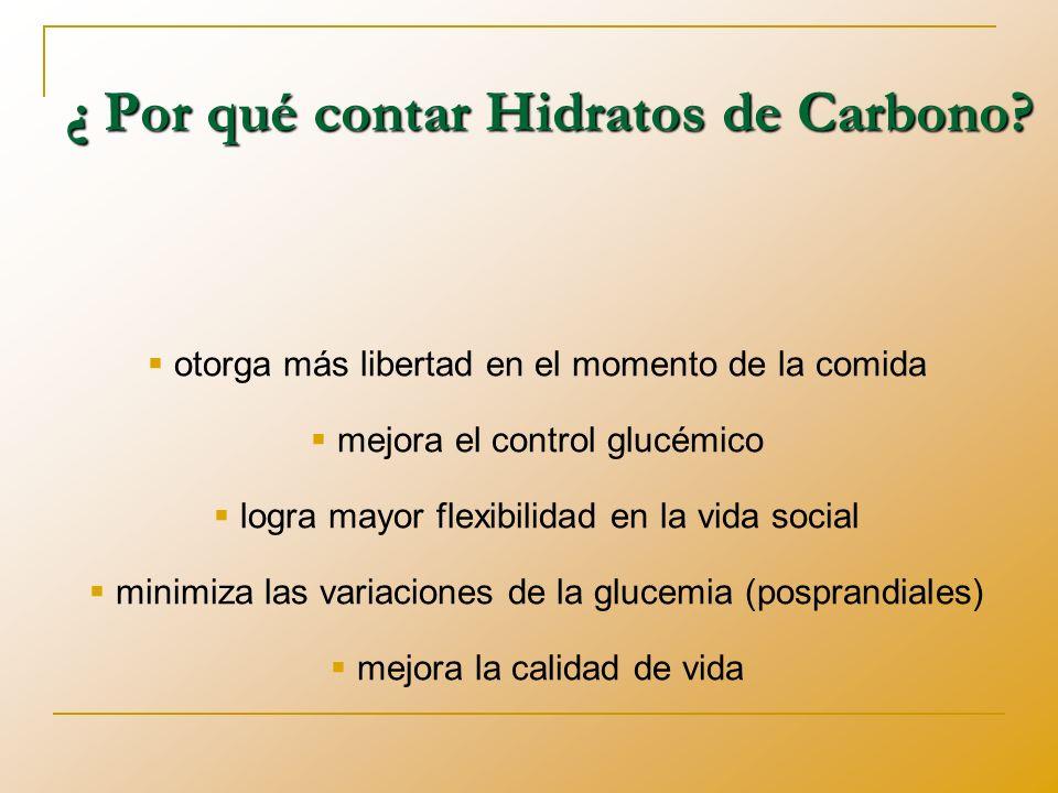 ¿ Por qué contar Hidratos de Carbono