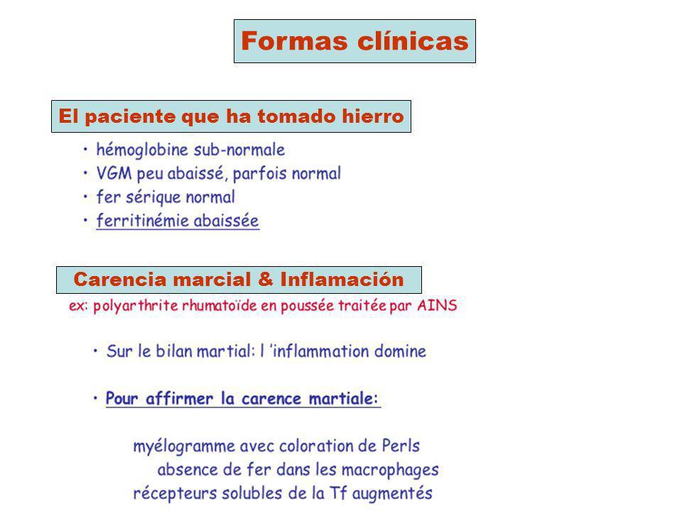 Formas clínicas El paciente que ha tomado hierro