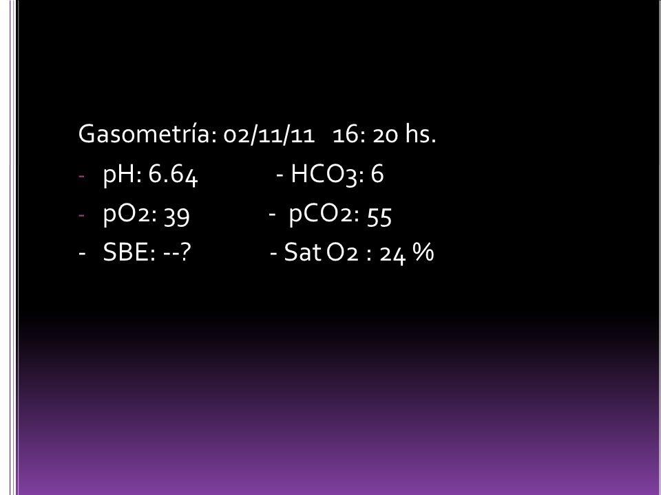 Gasometría: 02/11/11 16: 20 hs. pH: 6.64 - HCO3: 6. pO2: 39 - pCO2: 55.