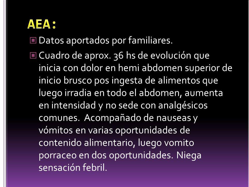AEA: Datos aportados por familiares.