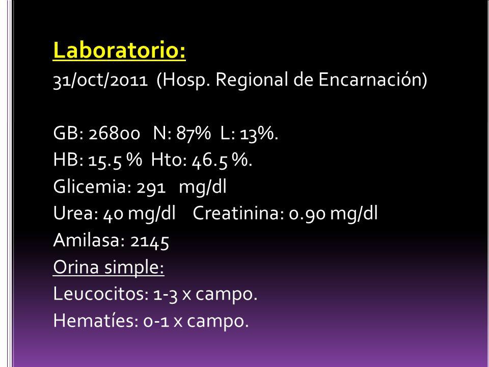 Laboratorio: 31/oct/2011 (Hosp. Regional de Encarnación)