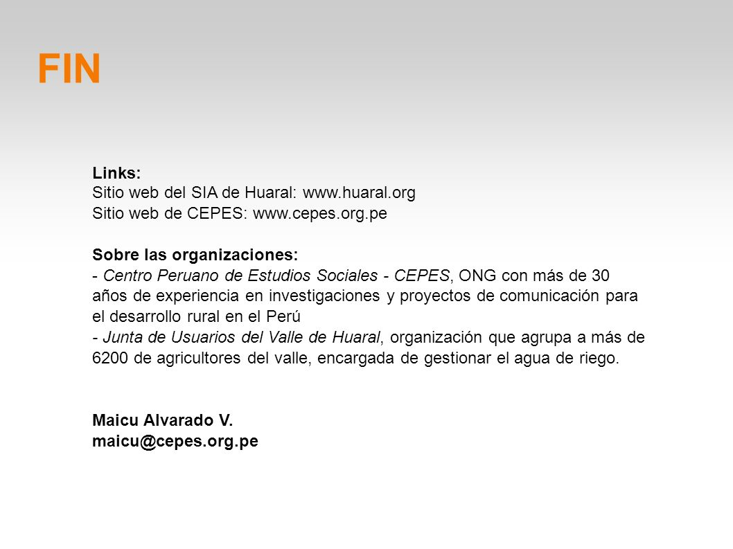 FIN Links: Sitio web del SIA de Huaral: www.huaral.org