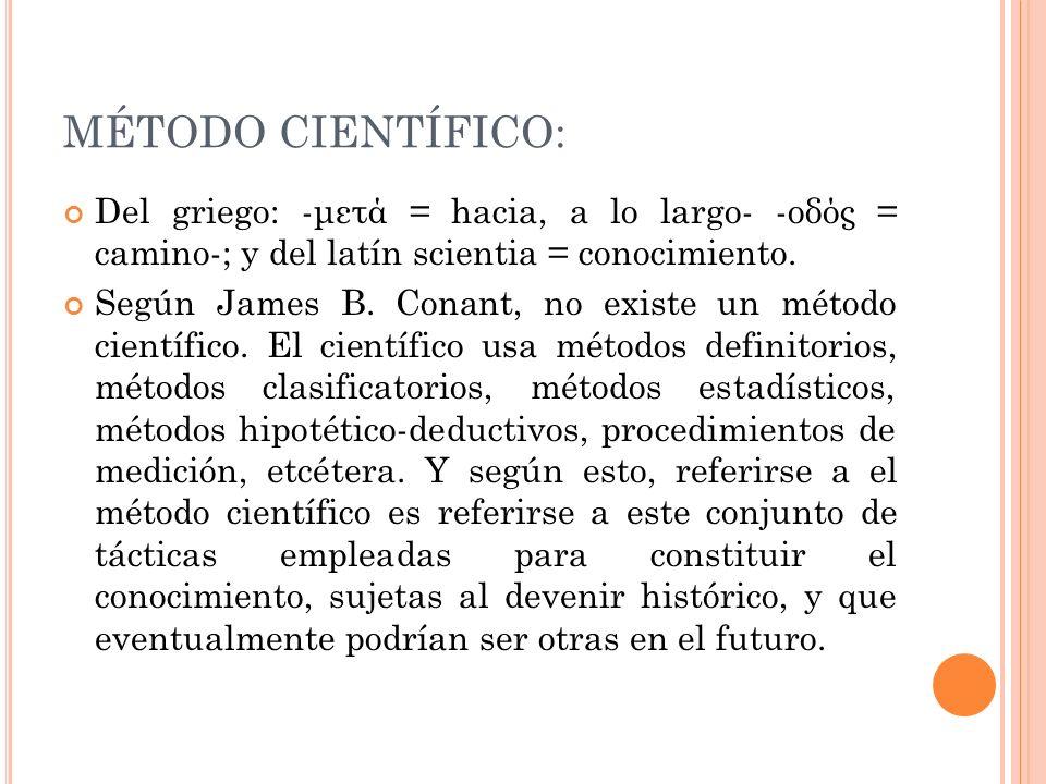 MÉTODO CIENTÍFICO: Del griego: -μετά = hacia, a lo largo- -οδός = camino-; y del latín scientia = conocimiento.