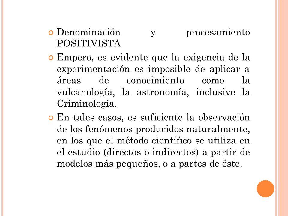 Denominación y procesamiento POSITIVISTA