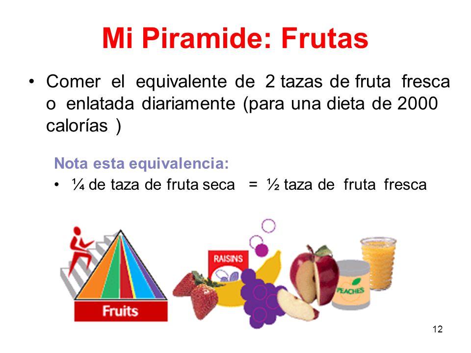 Mi Piramide: Frutas Comer el equivalente de 2 tazas de fruta fresca o enlatada diariamente (para una dieta de 2000 calorías )