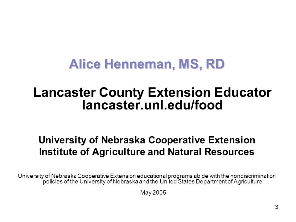 Lancaster County Extension Educator lancaster.unl.edu/food