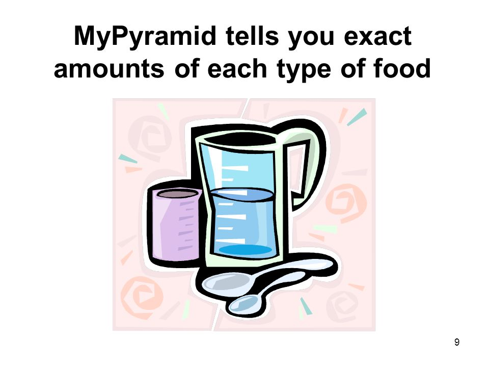 MyPyramid tells you exact amounts of each type of food