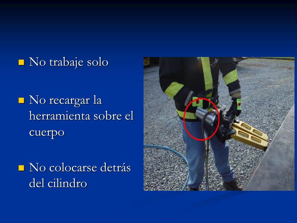 No trabaje solo No recargar la herramienta sobre el cuerpo No colocarse detrás del cilindro