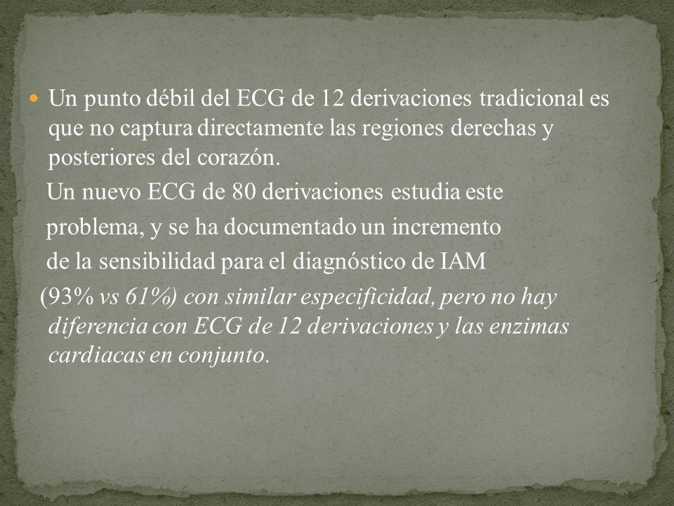 Un punto débil del ECG de 12 derivaciones tradicional es que no captura directamente las regiones derechas y posteriores del corazón.
