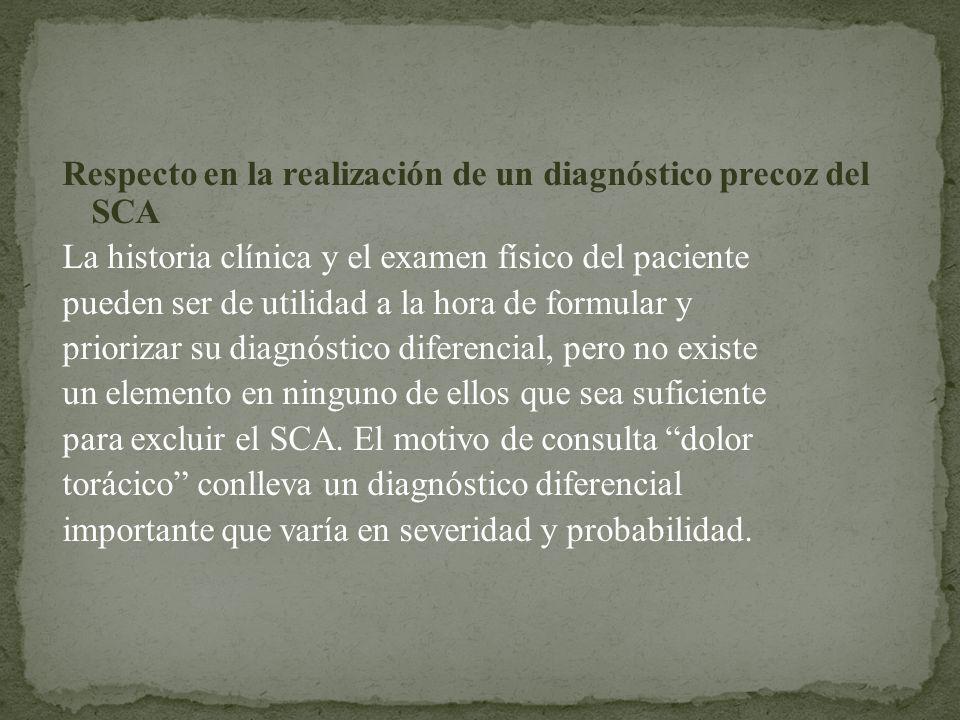 Respecto en la realización de un diagnóstico precoz del SCA