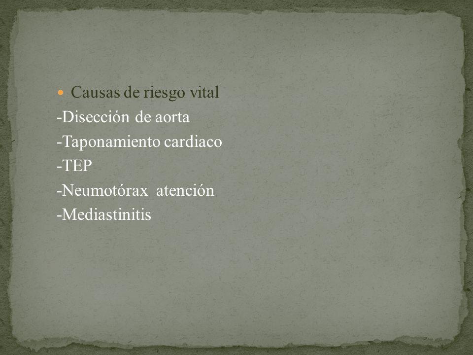 Causas de riesgo vital -Disección de aorta. -Taponamiento cardiaco. -TEP. -Neumotórax atención.