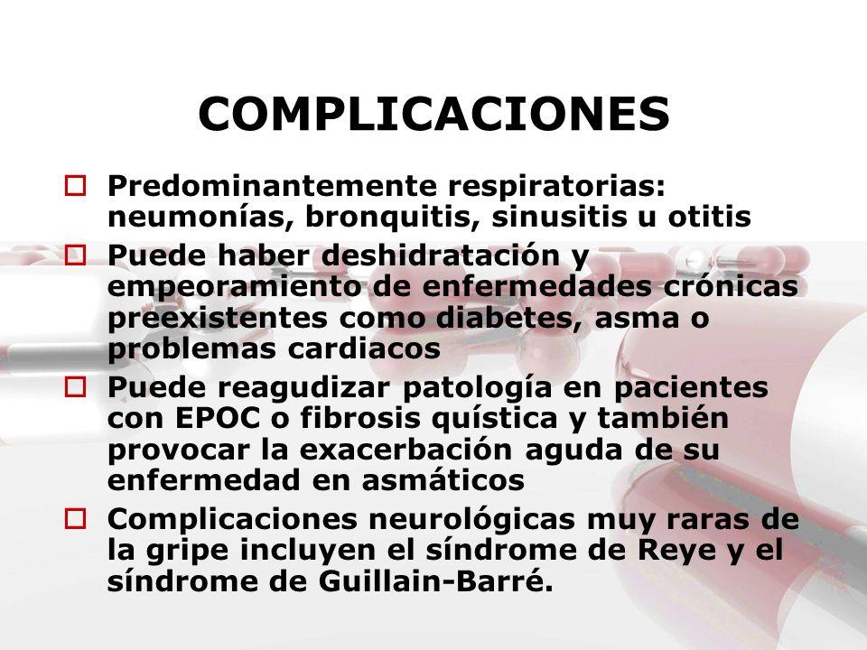 COMPLICACIONES Predominantemente respiratorias: neumonías, bronquitis, sinusitis u otitis.