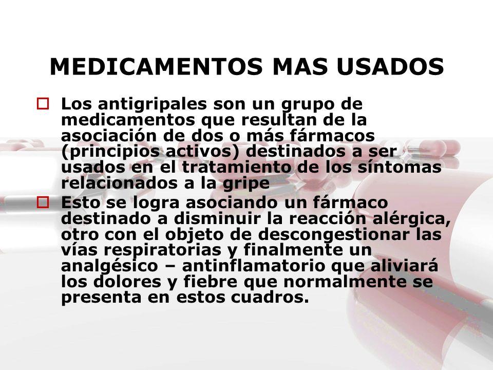 MEDICAMENTOS MAS USADOS