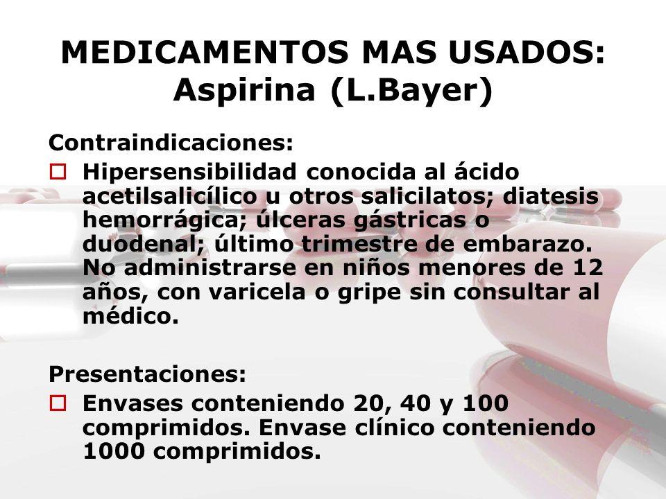 MEDICAMENTOS MAS USADOS: Aspirina (L.Bayer)
