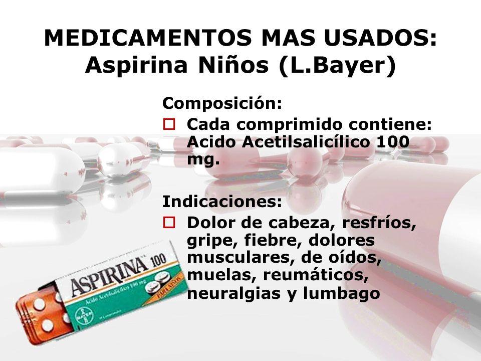 MEDICAMENTOS MAS USADOS: Aspirina Niños (L.Bayer)