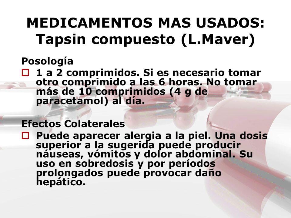 MEDICAMENTOS MAS USADOS: Tapsin compuesto (L.Maver)
