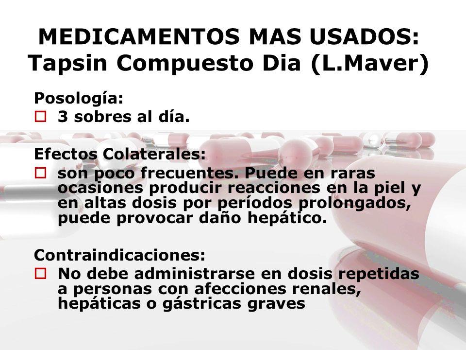 MEDICAMENTOS MAS USADOS: Tapsin Compuesto Dia (L.Maver)
