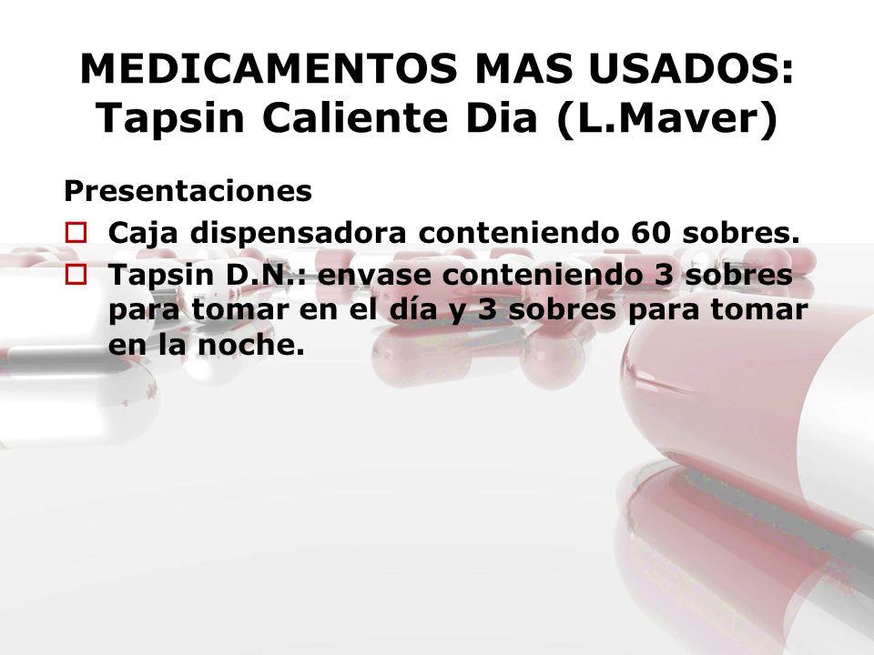 MEDICAMENTOS MAS USADOS: Tapsin Caliente Dia (L.Maver)