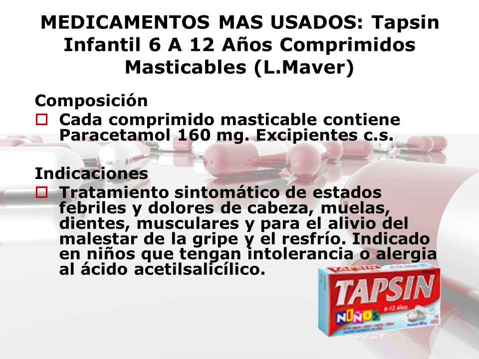 MEDICAMENTOS MAS USADOS: Tapsin Infantil 6 A 12 Años Comprimidos Masticables (L.Maver)