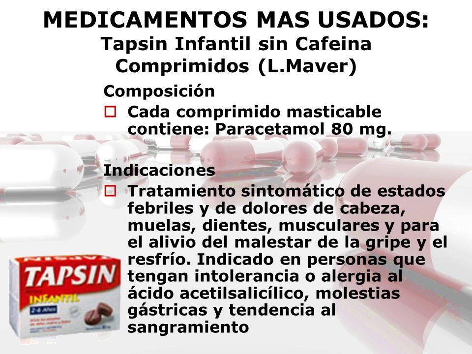 MEDICAMENTOS MAS USADOS: Tapsin Infantil sin Cafeina Comprimidos (L