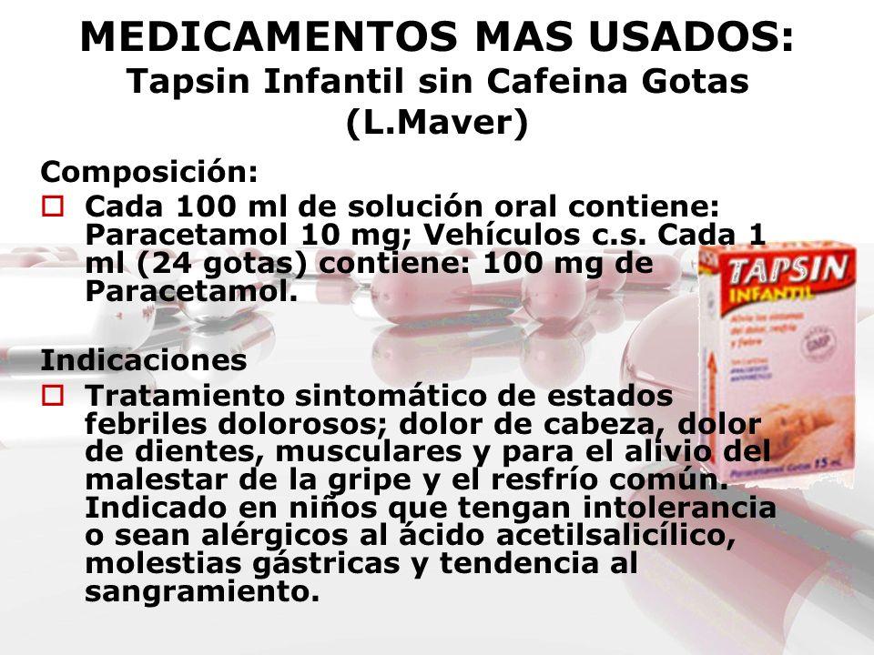 MEDICAMENTOS MAS USADOS: Tapsin Infantil sin Cafeina Gotas (L.Maver)
