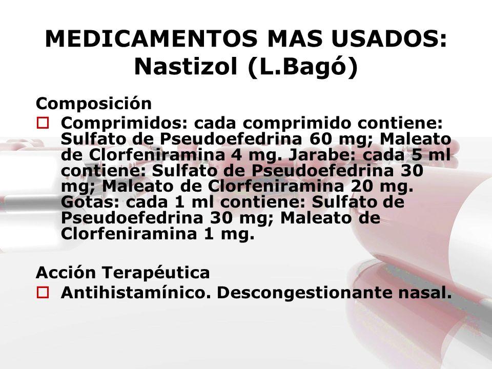 MEDICAMENTOS MAS USADOS: Nastizol (L.Bagó)