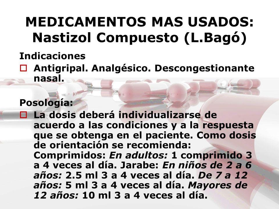 MEDICAMENTOS MAS USADOS: Nastizol Compuesto (L.Bagó)