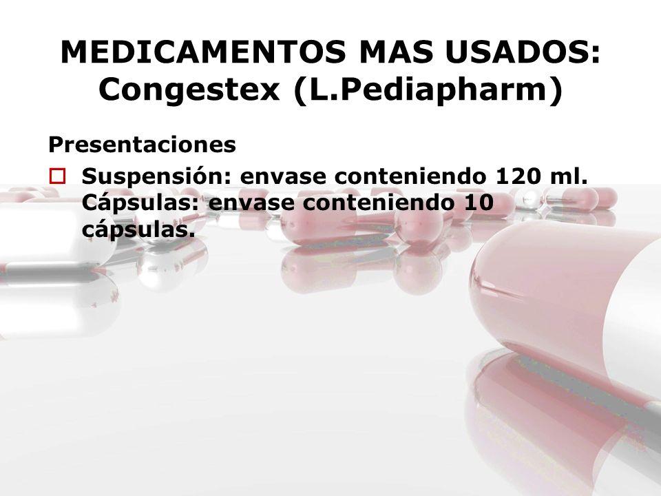MEDICAMENTOS MAS USADOS: Congestex (L.Pediapharm)