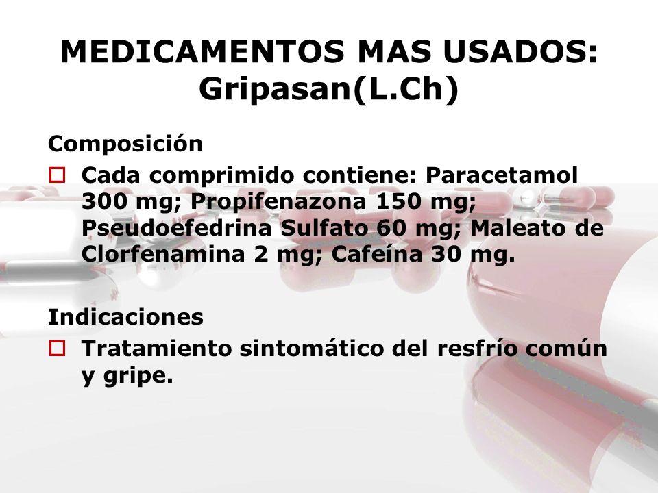 MEDICAMENTOS MAS USADOS: Gripasan(L.Ch)