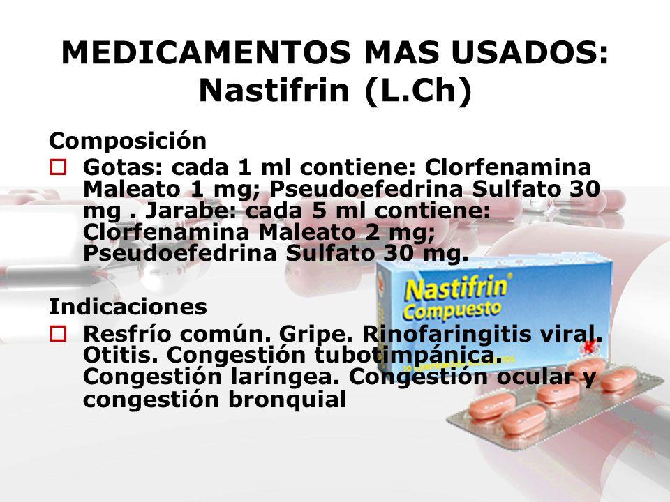 MEDICAMENTOS MAS USADOS: Nastifrin (L.Ch)