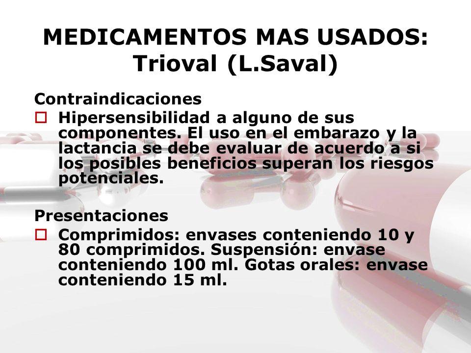 MEDICAMENTOS MAS USADOS: Trioval (L.Saval)