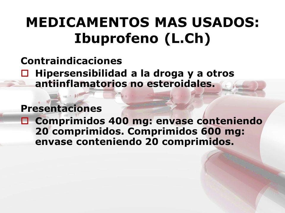 MEDICAMENTOS MAS USADOS: Ibuprofeno (L.Ch)