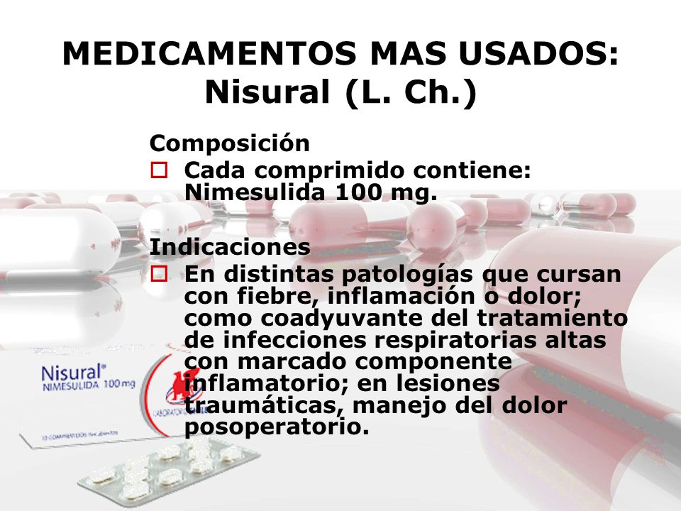 MEDICAMENTOS MAS USADOS: Nisural (L. Ch.)